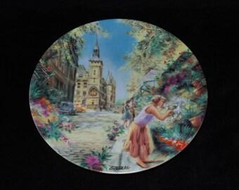"""1988 D'Arceau-Limoges April in Paris """"Quai aux Fleurs et Conciergerie"""" Collector Plate by Jean-Claude Guidou"""