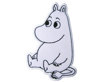 White Hippo Embroidered Applique Iron on Patch 6.7 cm. x 10 cm.