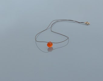 ZOUX113 minimalist necklace in Brown silk thread - carnelian (orange) Gold filled 14 k faceted briolette pendant