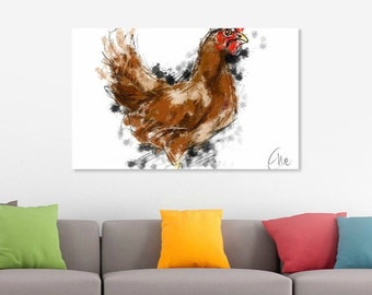 Chicken print // A3 chicken print // chicken painting // chicken kitchen decor // chicken gifts // chicken art // chicken drawing