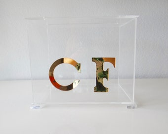 Lucite modern wedding/christening/baptism/party clear gift cardholder box with lift off top and with mirrored chrome or gold initials