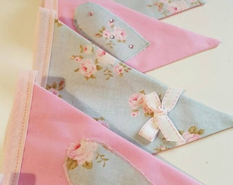 shabby chic - pink floral bunting - hearts and flowers - shabby chic bunting -floral banner - shabby chic decor - luxury handmade bunting