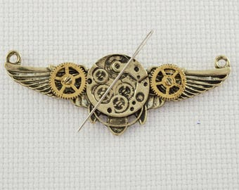 Steampunk Inspired Antique Bronze Wings Needleminder / Wing Needleminder / Steampunk Needleminder