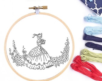 Hand Embroidery Design PDF Hand Embroidery Pattern Printable Sewing Hoop Art Vintage Reproduction Transfer Embroidery Pattern Crinoline Lady