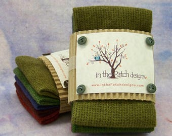 Christmas wool chunk sampler collection, hand dyed wool from In the Patch design,