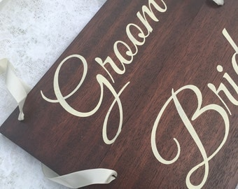 Bride & Groom Chair Signs, Wooden wedding chair signs, hand painted, wedding, wedding signs, bridge and groom, wedding photo props