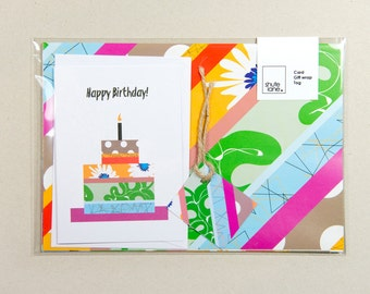 Multi-colour collage, striped design gift wrapping set