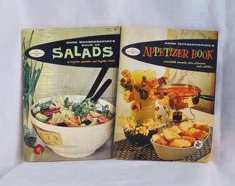 "Two ""Good Housekeeping"" 1958 Cookbooks: Appetizer Book and the Book of Salads"
