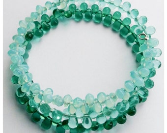 Sale~Sea Breeze Memory Wire Bracelet~Czech Glass Beads