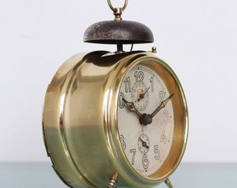gustav becker alarm clock antique bell mantel 1910s germany shelf brassglass