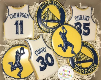 Golden State Warriors Basketball Cookies  - 1 Dozen (12 Cookies)