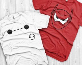 Baymax Shirts Disney Couples Shirts Big hero 6 Custom Matching Shirts Couple T-shirts vacation shirts