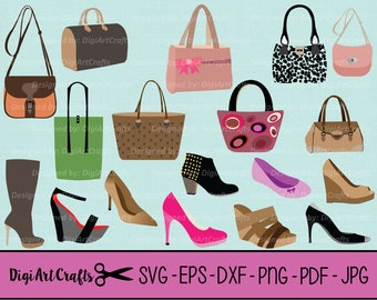 Purses and Shoes Collection SVG files / Girly clip art / High heel clipart / eps purses / SVG boots / dxf / Pretty Clipart / Commercial Use