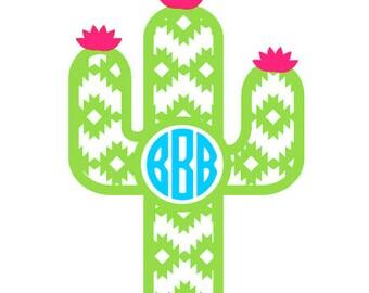 Cactus Monogram // Cactus Stickers // Cactus decal // Laptop sticker / Monogram Decal / Car decal / YETI decal / Tumbler decal / vinyl decal