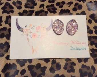 Choose your color- Druzy oval studs