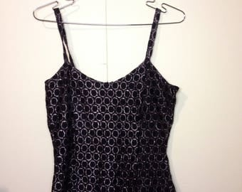 80's/90's Black and silver mini dress -Size S