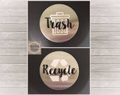 Trash Recycling Can labels, trash bin decal, recycling bin decal, kitchen label, sticker, waste basket label, garbage can labels, earth day