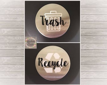 Trash Recycling Can labels, trash bin decal, recycling bin decal, trash decal, kitchen label, sticker, waste basket label, garbage can label