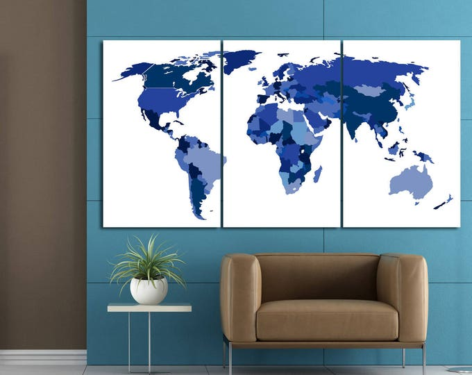 Large blue world map canvas panel print, blue push pin world map, blue push pin world map framed, Blue world map canvas with country borders