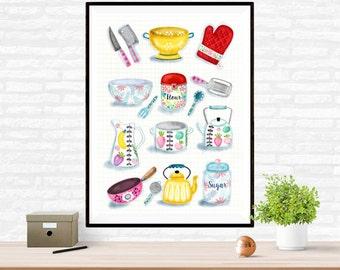 Beautiful Kitchenware Illustrations Poster Wall Art
