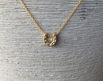 Gold horseshoe necklace silver horseshoe necklace