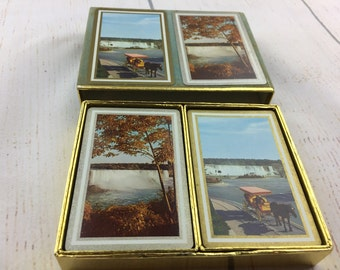 Vintage 1960s Congress playing cards, waterfall scene playing cards