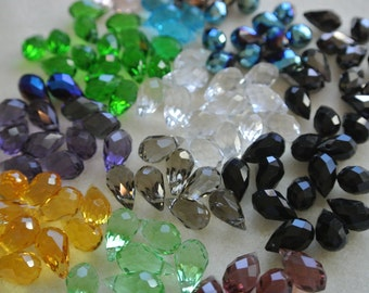 Chinese Crystal Faceted Teardrop Beads 8x14mm Mixed Colors 120 Beads