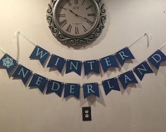Blue Winter Onederland Birthday Banner
