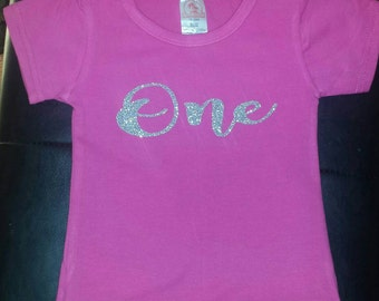 pink and gold first birthday shirt, girls first birthday shirt, glitter one shirt, baby girl first birthday outfit, glitter one shirt, one