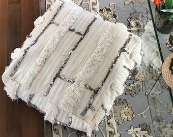 WEDDING BLANKET / HANDIRA Moroccan Pouf / Vintage Moroccan Pouf Pillow / Handira Floor Pillow