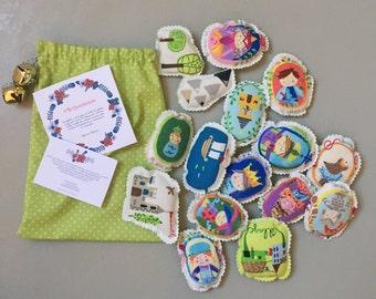 cotton Story Stones / story telling / story stone stuffed in kapok / montessori toys / travel toy