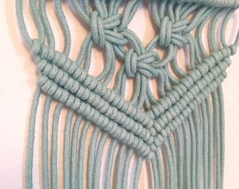 Aqua Blue Macrame Wall Hanging