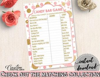 Pink Gold Candy Bar Game, Baby Shower Candy Bar Game, Dots Baby Shower Candy Bar Game, Baby Shower Dots Candy Bar Game - RUK83