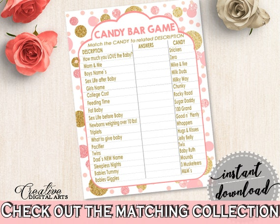 Pink Gold Candy Bar Game Baby Shower Candy Bar Game Dots Baby