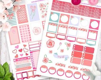 Happy planner stickers, Erin Condren Printable Planner Stickers, Weekly Planner Stickers, pink Stickers