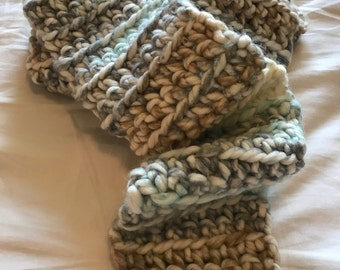 Crochet Scarf (gray/brown/teal/off white)