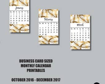 2016-2017 MONTHLY Business Card Sized Printable
