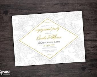 Elegant Floral Line Drawing Engagement Party Invitation