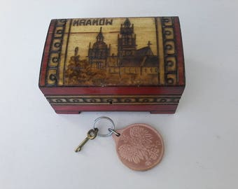 Hand Carved Polish Wood Box With Lock and Key KRAKOW Poland