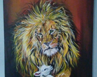 Lion laying with the lamb