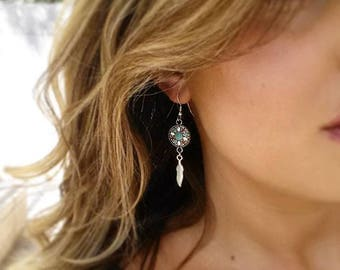 Southwestern Earrings, Feather Earrings, New Mexico Earrings, Boho Earrings, Silver Drop Earrings, Handmade Earrings, Gifts For Her