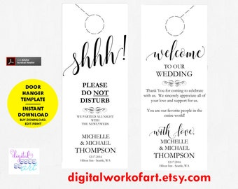 Wedding Door Hanger Template, Door Hanger Printable, Please Do Not Disturb Door Hanger, Wedding Favor, Instant Download, Wedding Printable