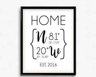 Custom GPS Coordinates Print, Home Decor Printable, Est. Date, Home Sweet Home Print, Housewarming Gift, New Home Gift, Modern - (D119)