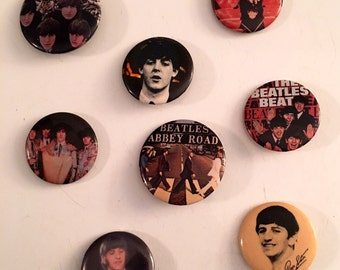 Lot of 8 Vintage Beatles Buttons