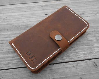 Iphone 7 wallet case, Personalized Wallet Case, Leather Iphone case, leather mobile wallet case, leather phone case, phone case wallet