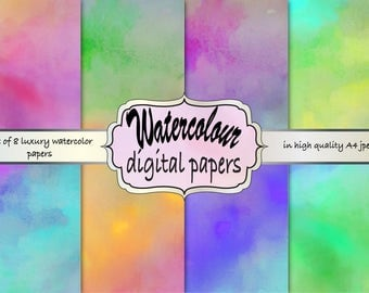 Watercolor digital paper, watercolor digital background, watercolor scrapbook paper, watercolor printable paper, watercolor texture paper