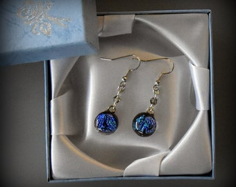 Dichroic earrings with swarovski toupies (4 mm)-glass jewel-light purple-green-blue