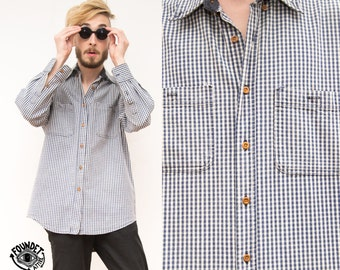 Blue / White Checked Cotton Mens Shirt