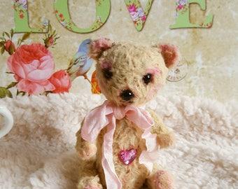 Rose Heart handmade ooak mohair artist teddy bear