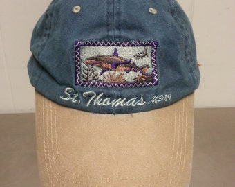 Vintage 90's St Thomas Virgins Islands Velcro Strap Back Dad Hat Toursit Cap